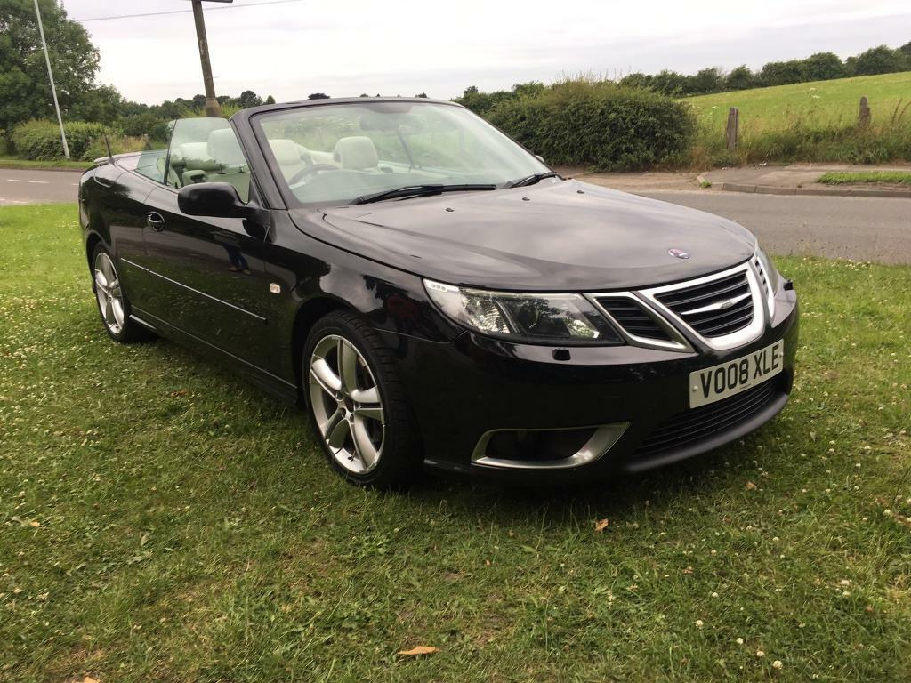 2008 08 plate saab 9 3 1 9 ttid 180 bhp aero convertible in black in stockport manchester. Black Bedroom Furniture Sets. Home Design Ideas