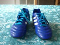 Adidas Bright Blue with White Flashes Football Boots, Size 4, HARDLY USED, EXCELLENT CONDITION