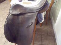 "17 1/2"" Brown English leather saddle made by Shires, Bromyard, England"