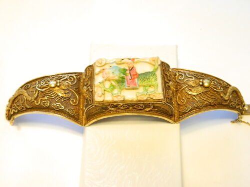 Antique Chinese Silver Gilt Filigree Carved Dragon Cuff Bracelet  7 in.