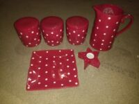 Red & White polka ceramic Kitchen set