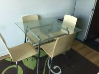 Brilliant 4 (Four) Seater Clear Glass 90cm SQUARE Dining Table & Chairs