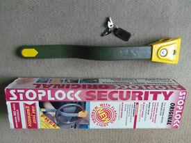 Original security brand antitheft steering lock STOPLOCK 2 keys box LED light