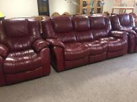 3-1-1 Red Leather Recliner Suite