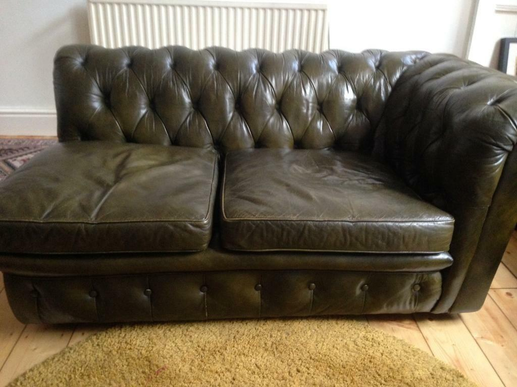 VINTAGE GREEN LEATHER CHESTERFIELD CHAISE LONGUE | in Chorlton ...