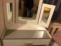 Desk, Mirror and stool