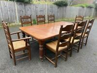 8 Rattan Wooden Chairs (including two carver chairs)