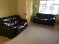 2x brown leather sofas FREE FOR COLLECTION