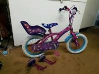 Girls 14 inch bike with stabilisers that can be added