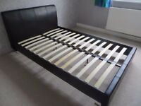 Leather Effect Frame Bed with mattress - 1.23 m (4.0ft) width