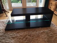 Matt black with glass floating shelf, TV stand, can be used either left or rifht