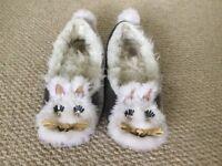 Designer Kate Spade bunny grey velvet slippers