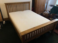 Beautiful solid oak double size 4ft6 bed frame with used memory foam mattress, excellent condition