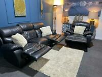 Sold Black leather recliner suite 3 seater sofa and chair