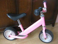 PINK PUSH ALONG TODDLER / SMALL CHILD BIKE (no peddles)