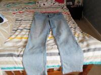 ladies blue patterned jeans