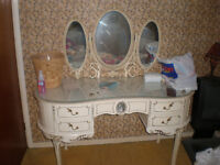 Shabby Chic - Curved White dressing table , mirrors , and 2 wardrobe bedroom set