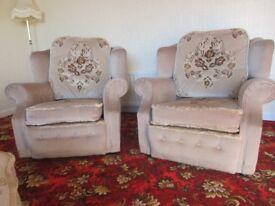 2 Beige Dralon Armchairs