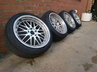 "BARGUN 18"" BBS LM DEEPDISH BMW 5X120 ALLOY WHEELS AND TYRES"