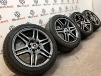"GENUINE 17"" MERCEDES AMG A CLASS/CLA/CCLASS AMG ALLOY WHEELS & TYRES- 5 x 112 - GLOSS GREY"