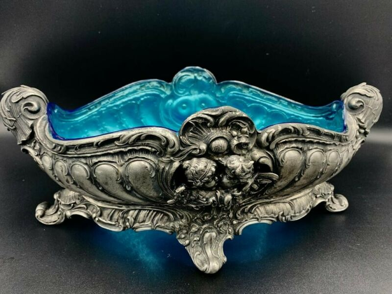 Centerpieces silver plate WMF with Blue crystal
