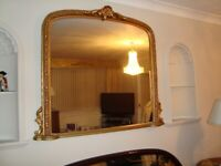 LARGE GOLD OVERMANTEL MIRROR 53INCH WIDE 47INCH TALL EXCELLENT CONDITION COST £850 ONLY £120