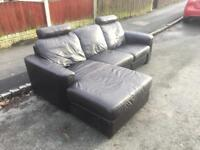 BROWN LEATHER CORNER SOFA -free delivery
