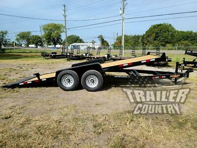New 2020 7 X 20 14 K Flatbed Wood Deck Gravity Tilt Equipment Car Hauler Trailer
