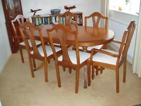 Yew Oval Dining Table & 6 Dining Chairs.