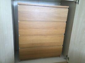 IKEA oak malm drawers