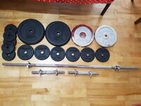Cast iron weights plates(70kg) + spinlock solid bar and dumbbell set