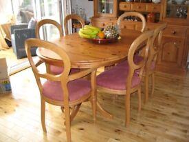 Earsham Hall, Norfolk handmade solid pine oval extending 6 seat dining table .