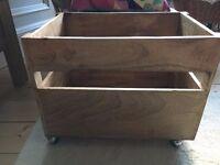 stylish wooden storage crate with wheels log , toy, magazine storage metal handles