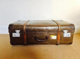 Vintage Brown Leather Trunk