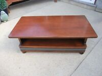 Wood and Leather Coffee Table/TV Stand