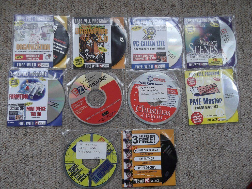PC Advisor computer magazine - 10 cover discs from 1996/97 incl. DrawPlus, TurboCad and EZ Language