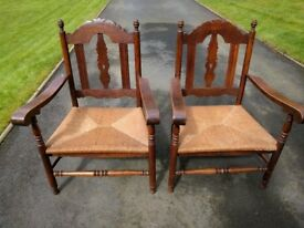 PAIR OF EARLY 20TH CENTURY WOODEN ARMCHAIRS WITH RUSH SEATS IN CONTINENTAL STYLE - BEAUTIFUL