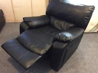 Black leather full reclining armchair sofa