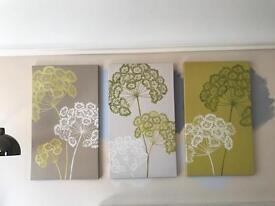 Next 3x Lime Green Daisy Canvas Prints