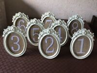 Vintage style table numbers for wedding or other occasion. Numbers 1to 8 ivory and hessian