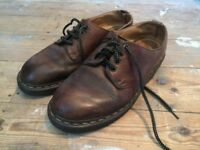 Size 6/7 Doc Dr Martens Made in England 1461 brown aztec crazy horse shoes leather smart