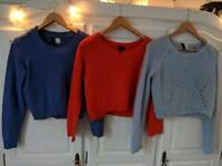 Three H&M H and M crop jumpers Size 6/8 cropped long sleeved perfect for Spring