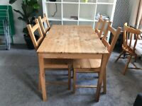 IKEA Ingo solid pine dining table and four chairs