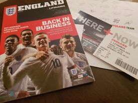 HARRY KANE ENGLAND DEBUT FOOTBALL PROGRAMME WITH TICKETS MINT