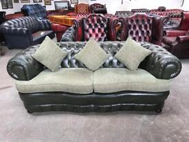 Stunning green leather coil sprung chesterfield 3 seater UK delivery