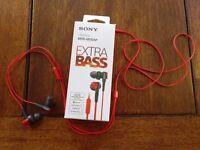 Sony MDR-XB50AP In-Ear Headphones, red, like new