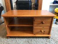 Solid Pine TV Cabinet with Two Drawers