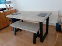 Table and bench - reclaimed sleeper wood and solid iron leg table and bench