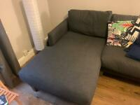 Grey 3-seater chaise. MUST GO THIS SATURDAY!