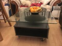 Glass/silver grey coffee table - immaculate condition
